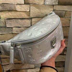 Authentic MCM Metallic leather logo Belt bag
